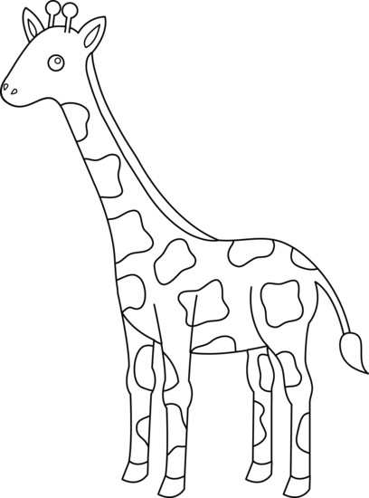 vector library library Giraffe clipart black and white.