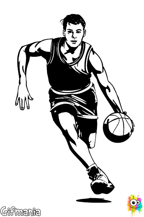 banner black and white stock basketball player