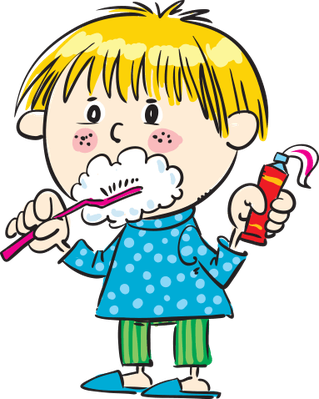 clipart black and white stock Child Brushing Her Teeth