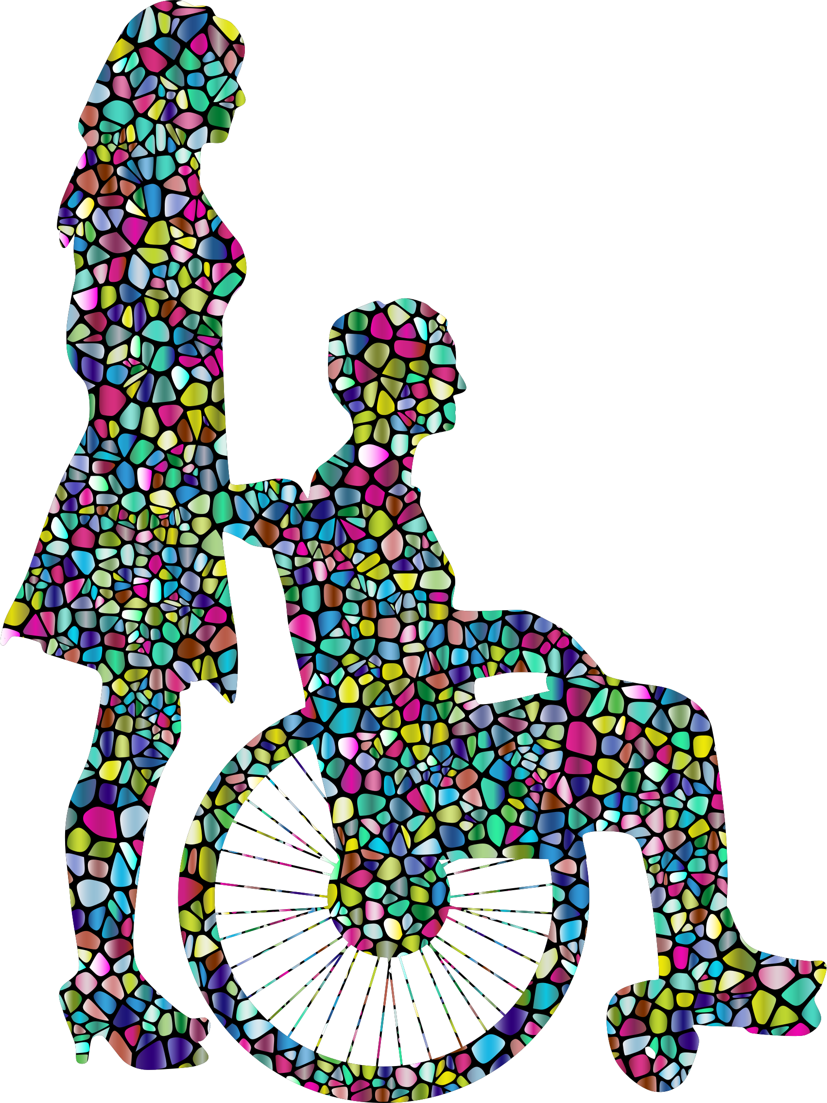 clipart library library Clipart polyprismatic tiled woman. Wheelchair vector stickman.