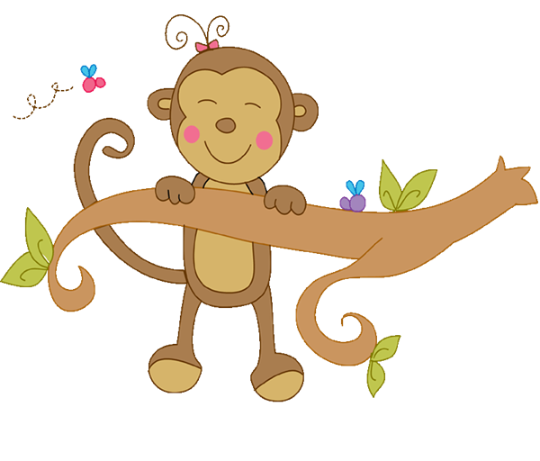 picture transparent stock Elephant baby shower clipart. Girl monkey swinging