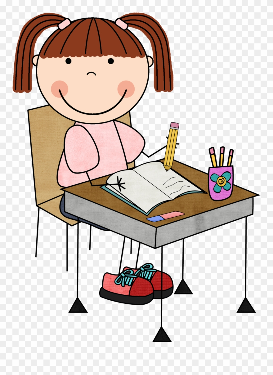 graphic black and white download Girl student working clipart. Clip art library .