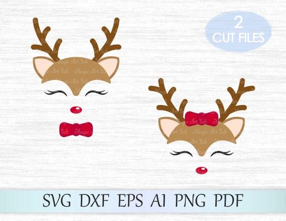 graphic black and white library Girl svg reindeer. Deer christmas xmas rudolf