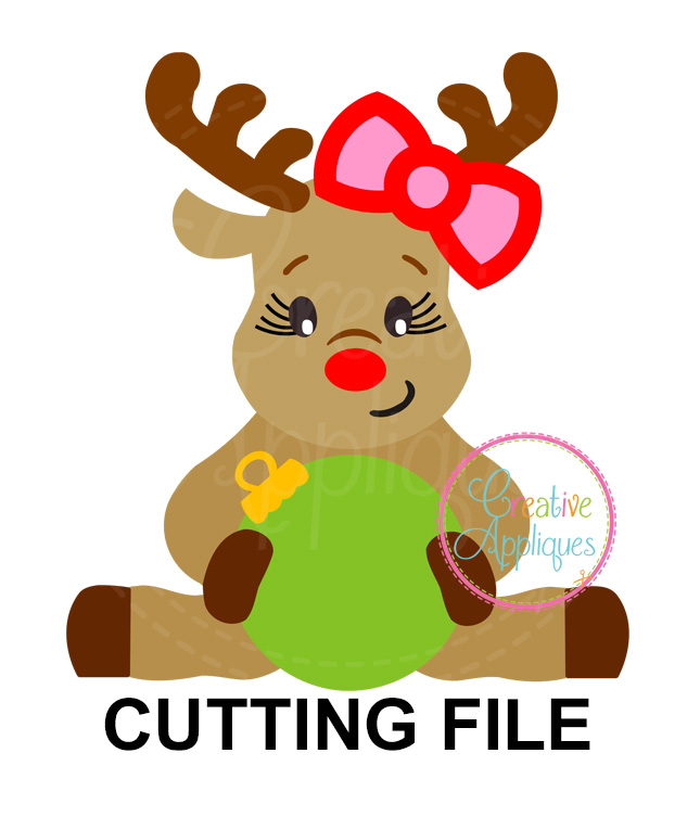 free stock Ornament cutting file dxf. Girl svg reindeer