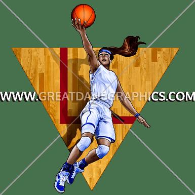 graphic free stock Girls Basketball Layup