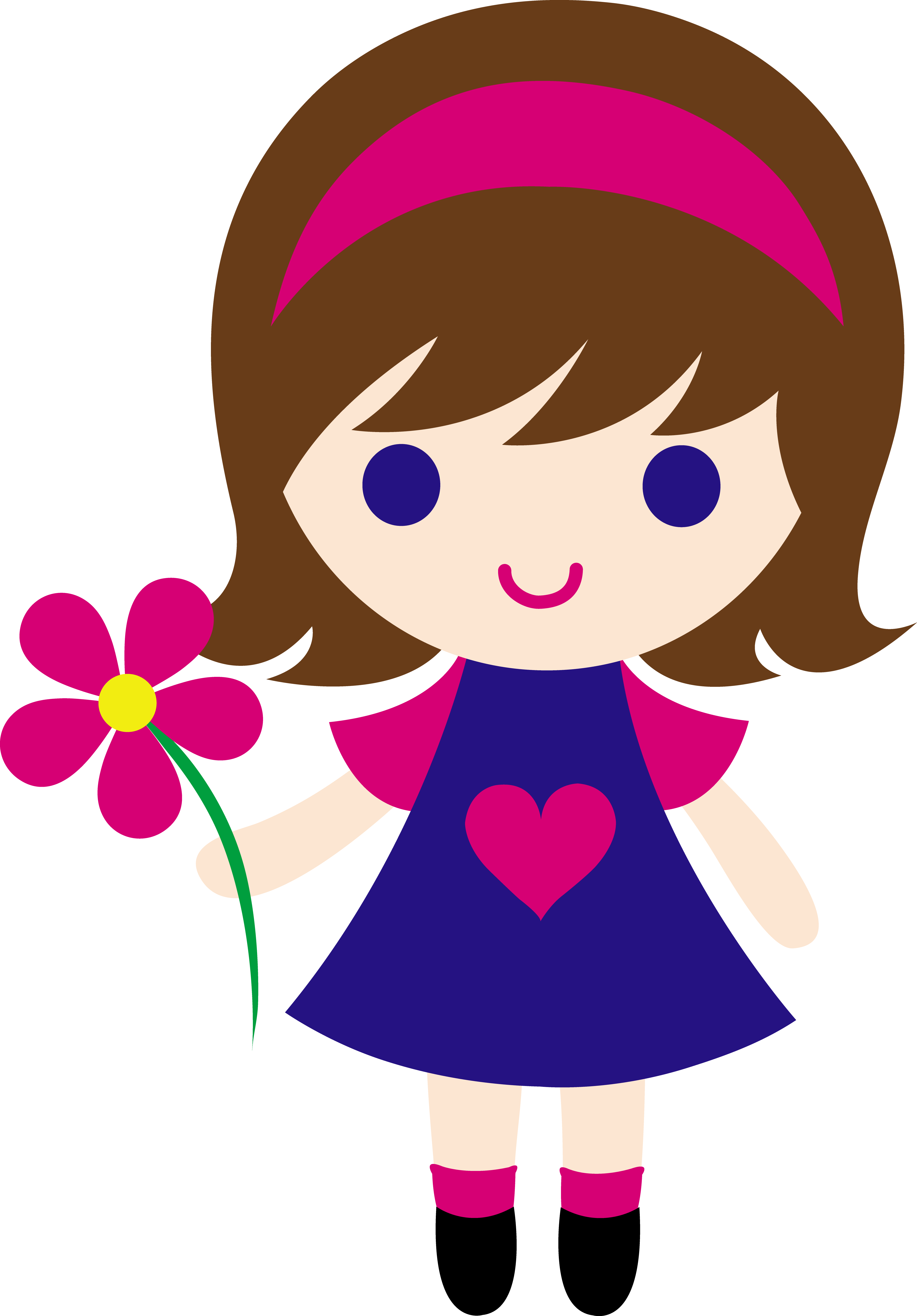 graphic stock My clip art of a little girl holding a pink daisy