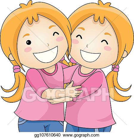 transparent stock Vector stock girls twins. Kids hugging clipart