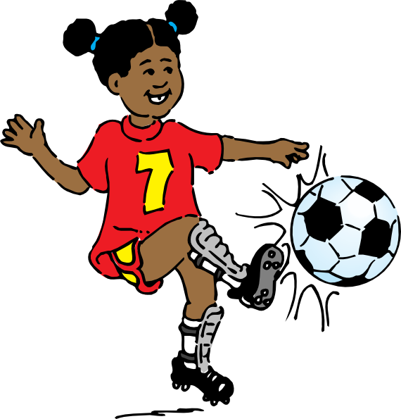 banner Girl clip art at. Kids playing soccer clipart