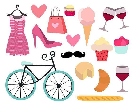 vector library library Paris feminine bike by. Girly clipart.