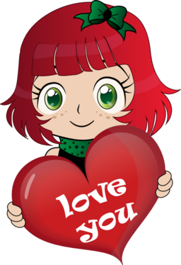 clipart transparent library Girly clipart heart. Manga pretty girl free