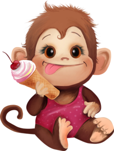 vector free library Monkey Loves Ice Cream