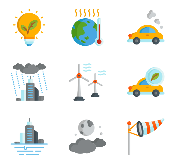stock Global warming icons free. Vector color warm