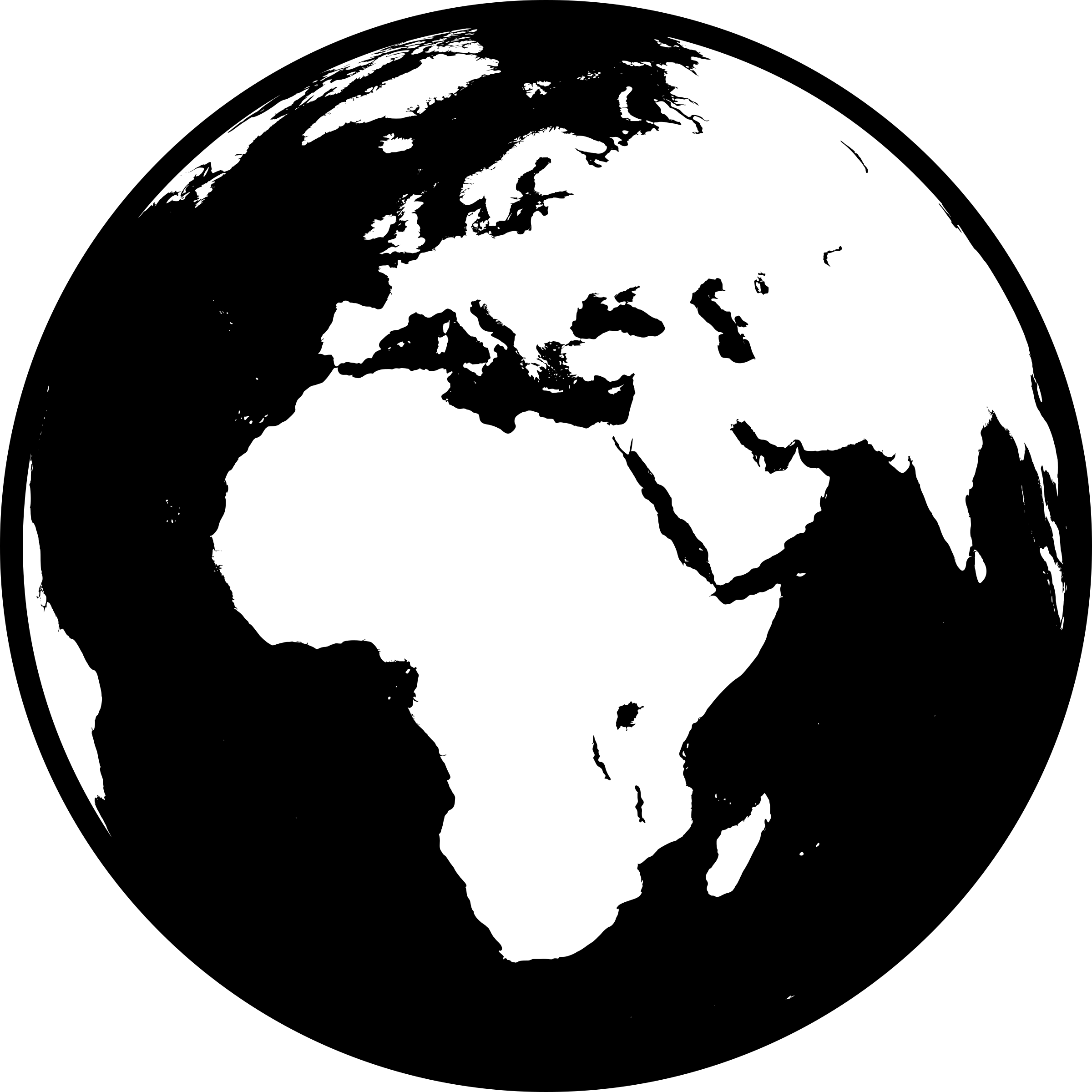 clip art free download Showing africa asia europe. Globe clipart black and white.