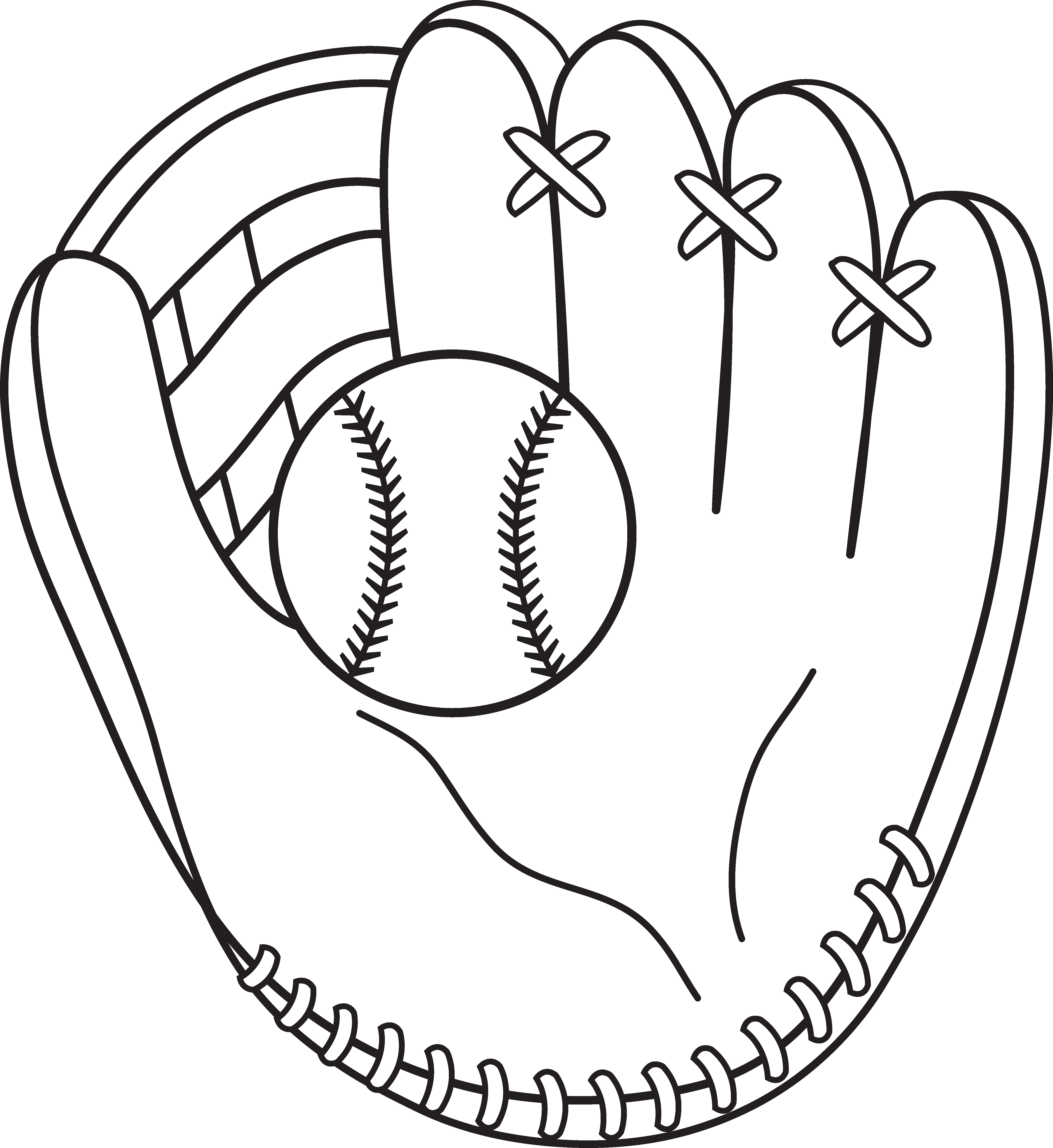 jpg library stock Baseball and Mitt Line Art