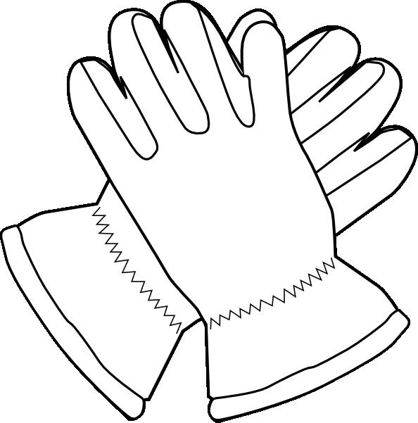 image black and white Gloves Outline Clip Art at Clker
