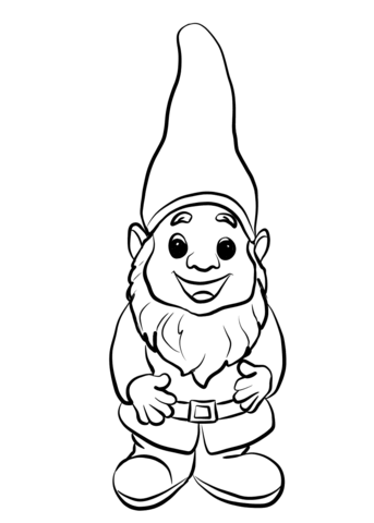 vector free stock Gnome clipart black and white. Cute coloring page from