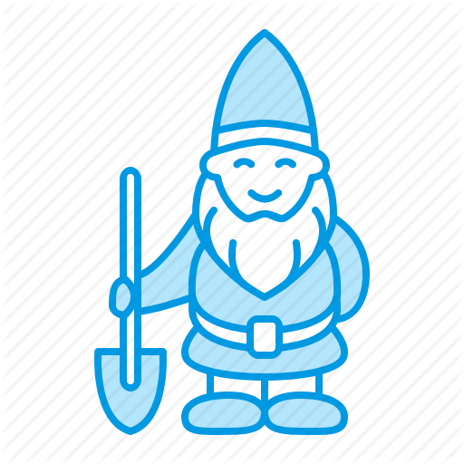 graphic royalty free library Gardening planting blue by. Gnome clipart line