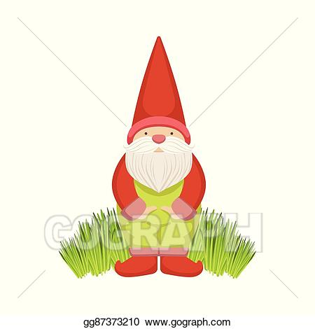 png free library Vector illustration standing on. Gnome clipart simple garden