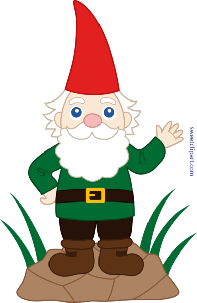 clip art black and white library Sweet clip art page. Gnome clipart simple garden