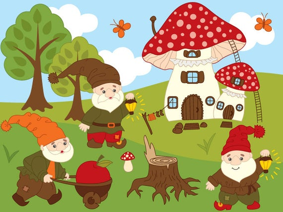 image royalty free download Gnome clipart woodland mushroom. Digital vector tree forest