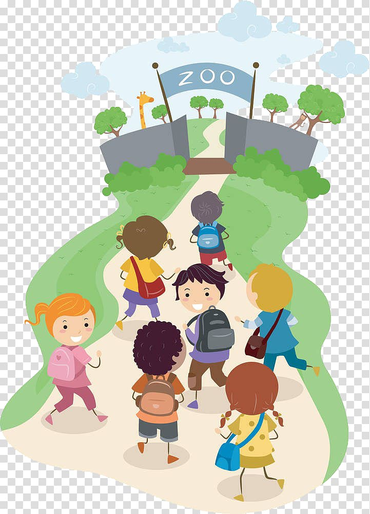 vector free library Go clipart children. Students towards zoo illustration