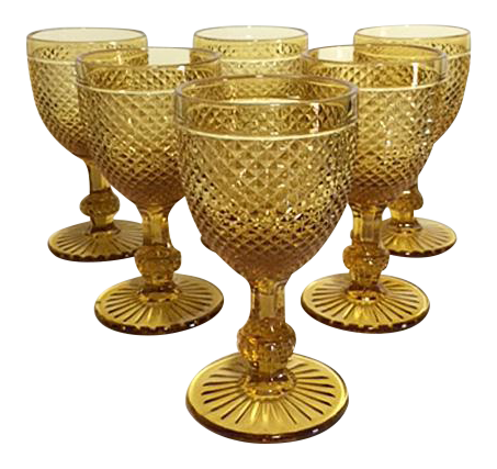 png transparent library Vintage Ivima Amber Diamond Point Water Goblets