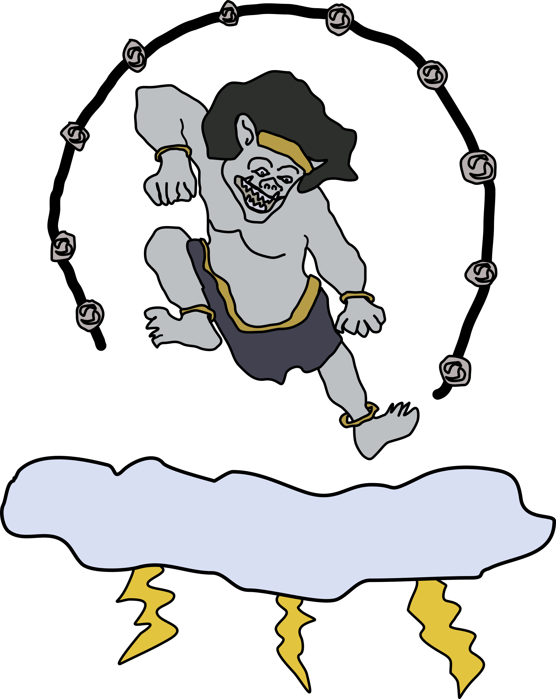 graphic free library Raijin the of thunder. God clipart cartoon