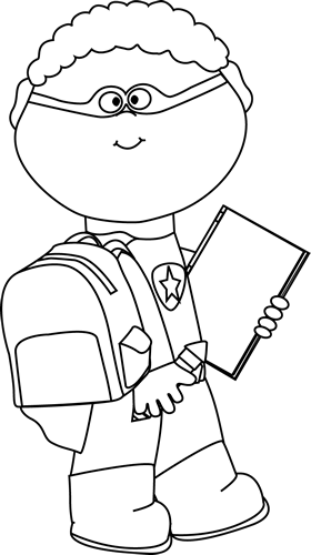 transparent Black and white superhero. Going to clipart boy