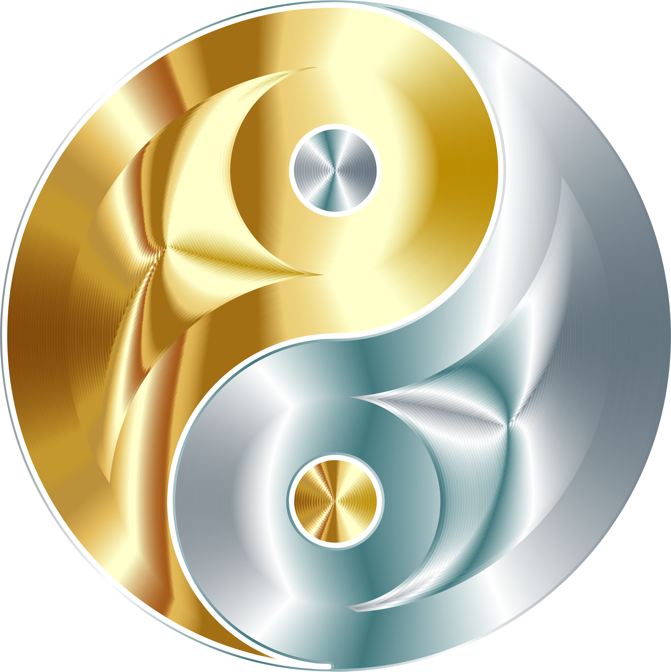 svg black and white library Gold and silver clipart. Yin yang no background