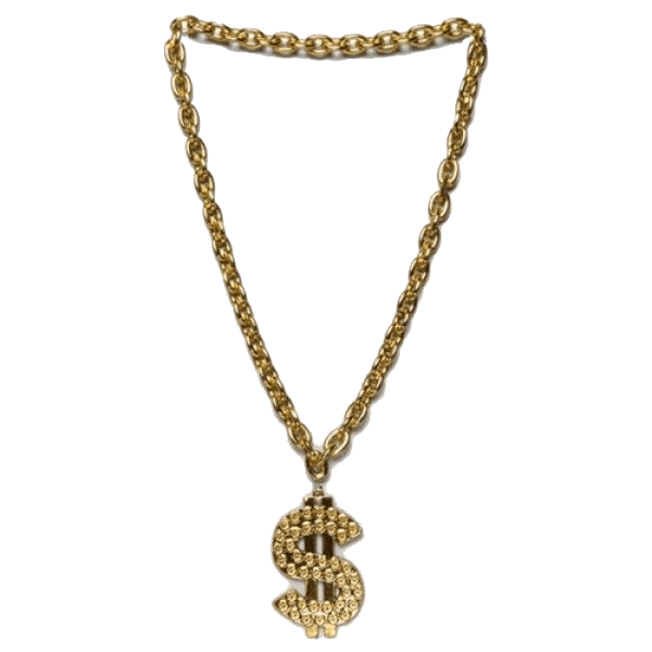 banner download Thug Life Gold Chain Dollar transparent PNG