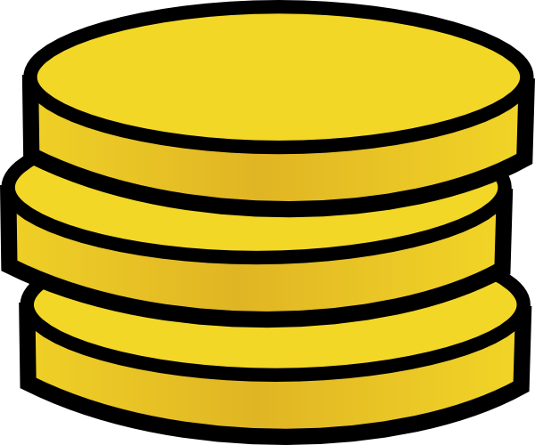 vector royalty free Three small coins clip. Golden clipart stacked coin