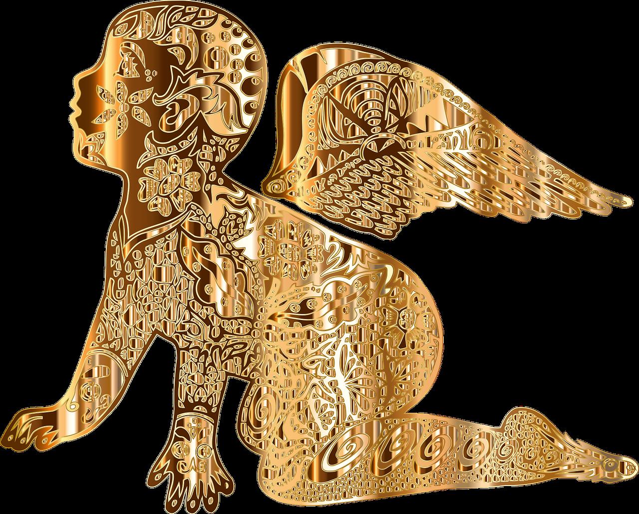 png royalty free Golden retriever clipart gold dog. Cherub angel clip art