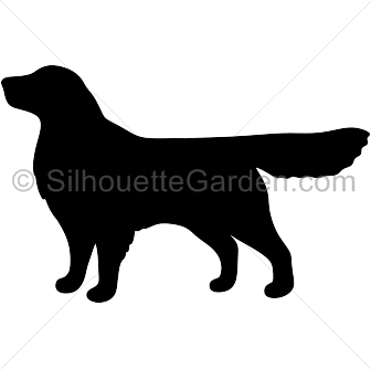 free Silhouette coloring page adorable. Golden retriever clipart vector