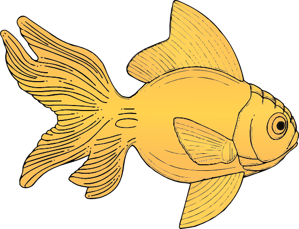 black and white download Side view clip art. Goldfish clipart 4 fish