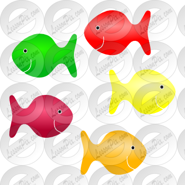 royalty free stock Stencil for classroom therapy. Goldfish clipart colored
