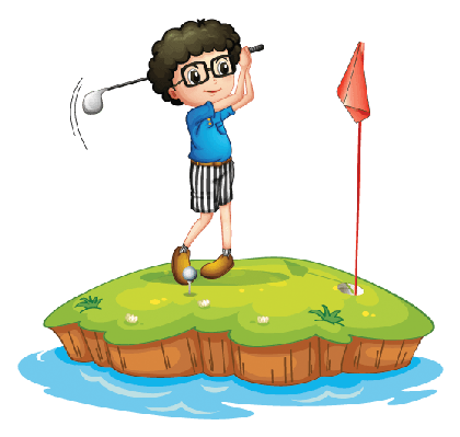 clip art black and white Young man playing the. Golf clipart