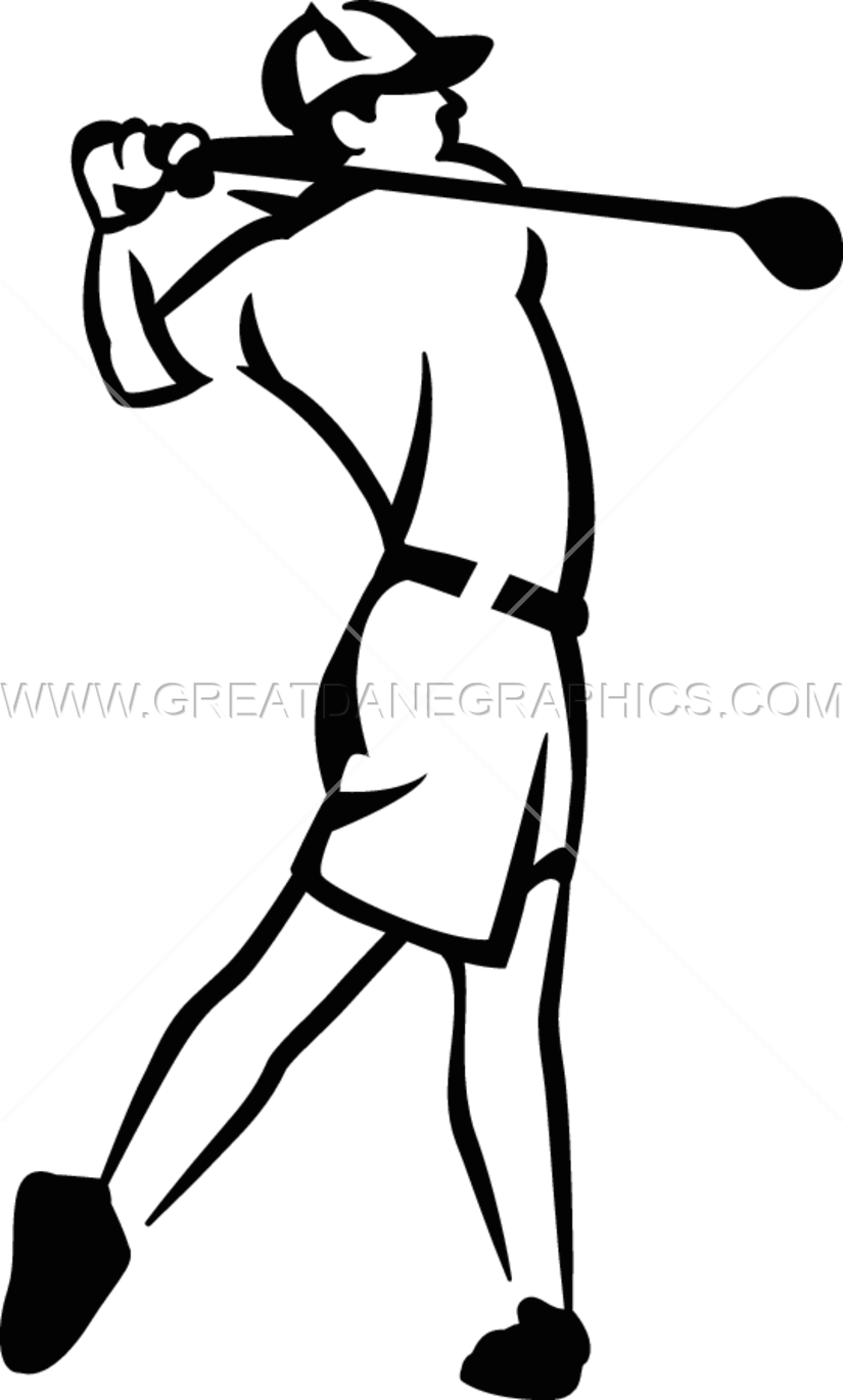 image royalty free stock Swing clipart black and white. Golf player drawing at