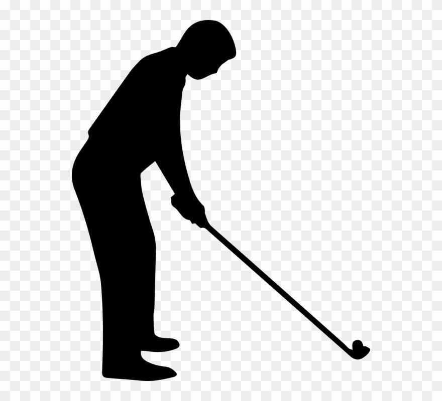 clip Golfer clipart golf ball club. Black and white free