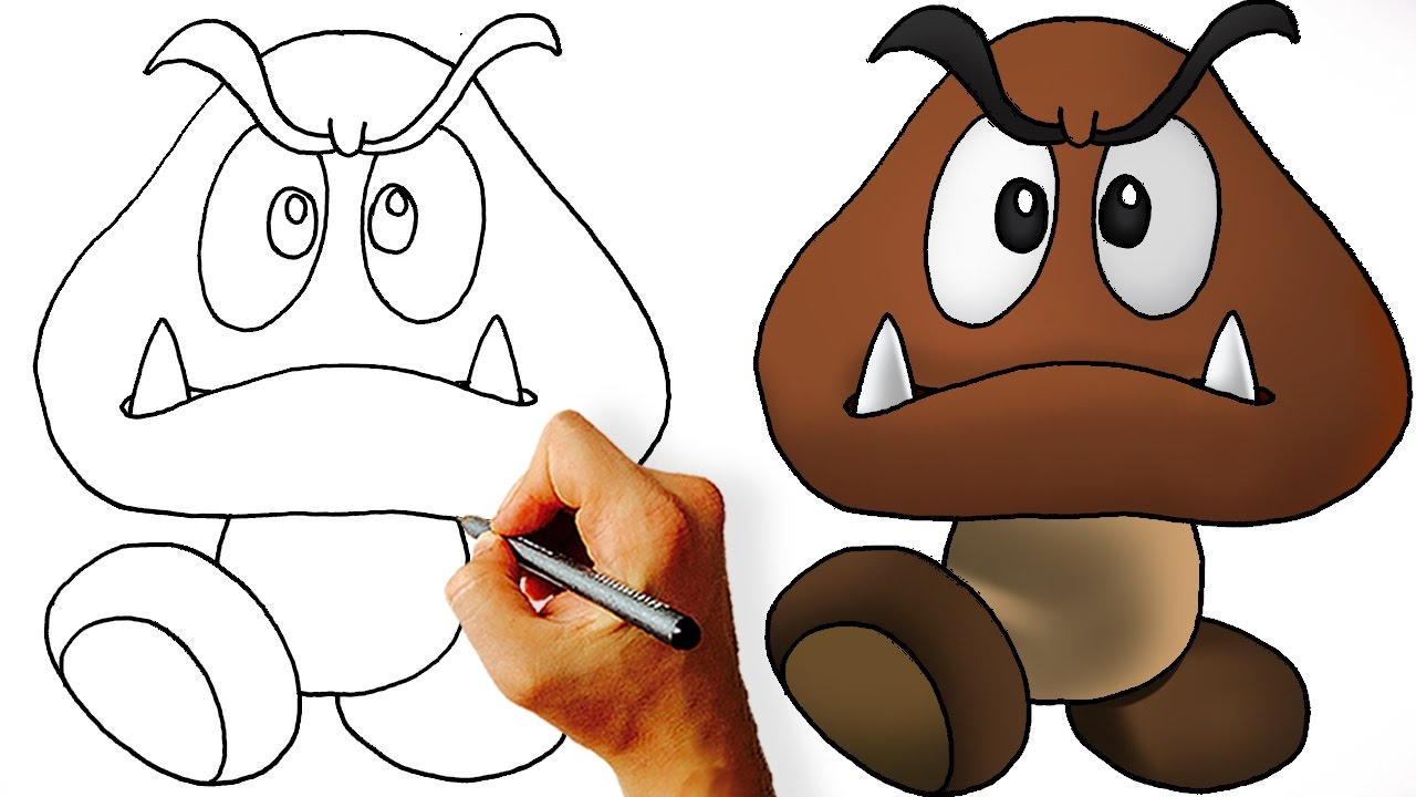 clipart download How to draw super. Goomba drawing
