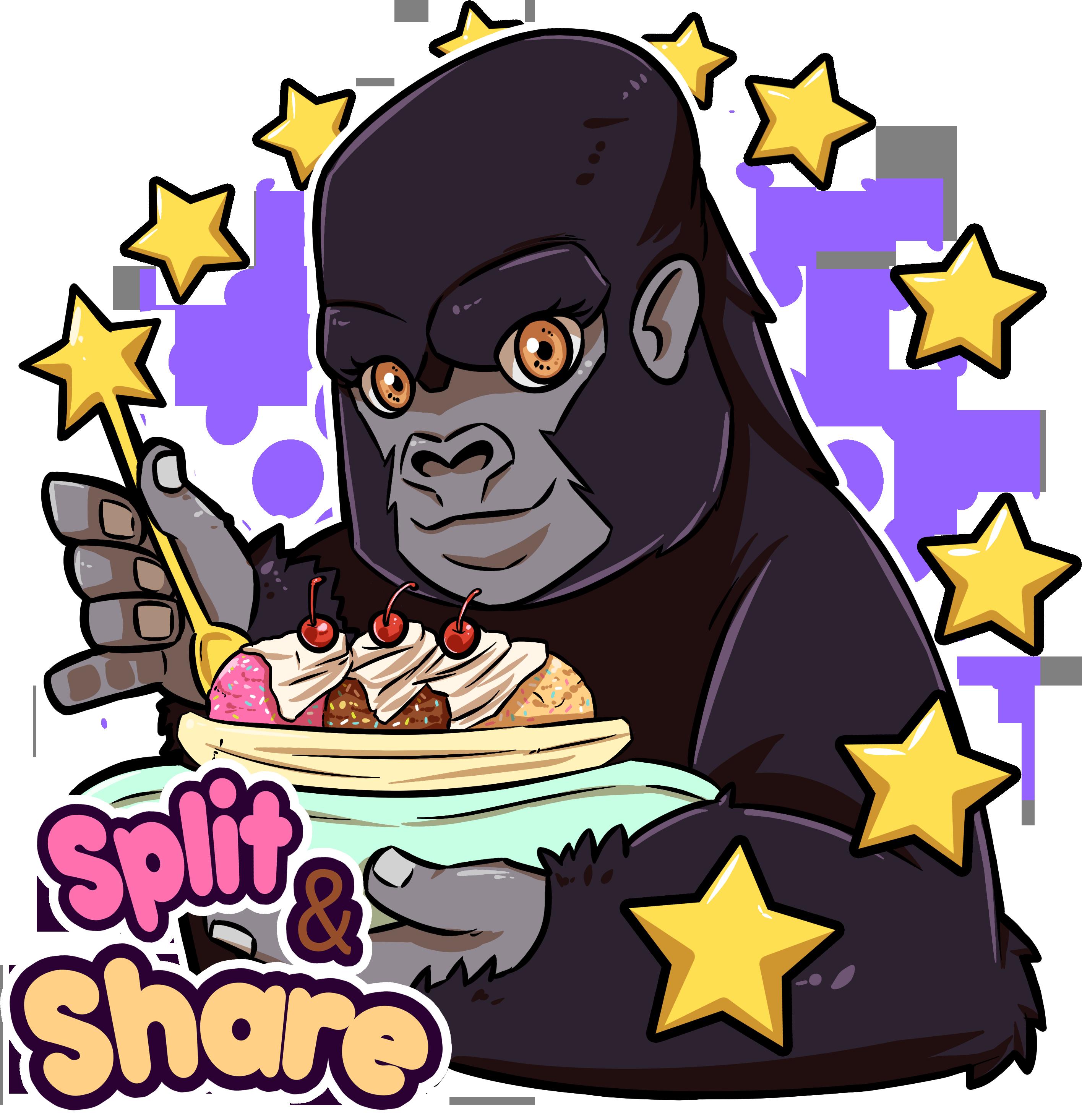 graphic free Split nicoy guevarra . Gorilla clipart banana