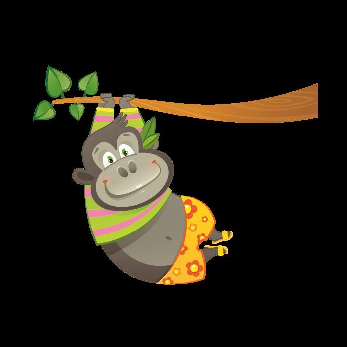 graphic library stock Wallstickers for kids sticker. Gorilla clipart jungle gorilla