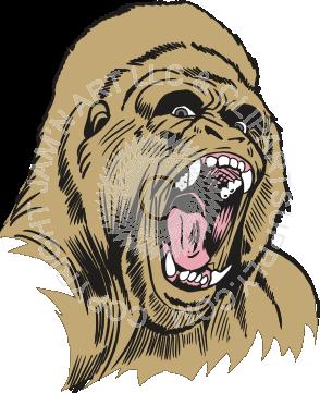 clipart transparent Gorilla clipart roaring. Mean head