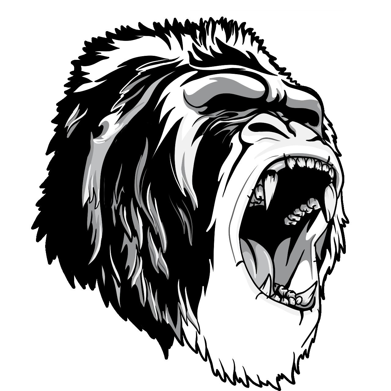 clip art black and white stock T shirt ape primate. Gorilla clipart roaring