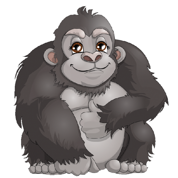 png free library  collection of gorilla. Ape clipart orange monkey