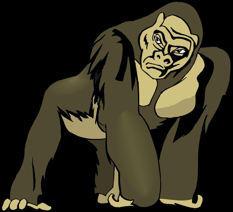 jpg black and white Ape cliparts zone clip. Gorilla clipart sad