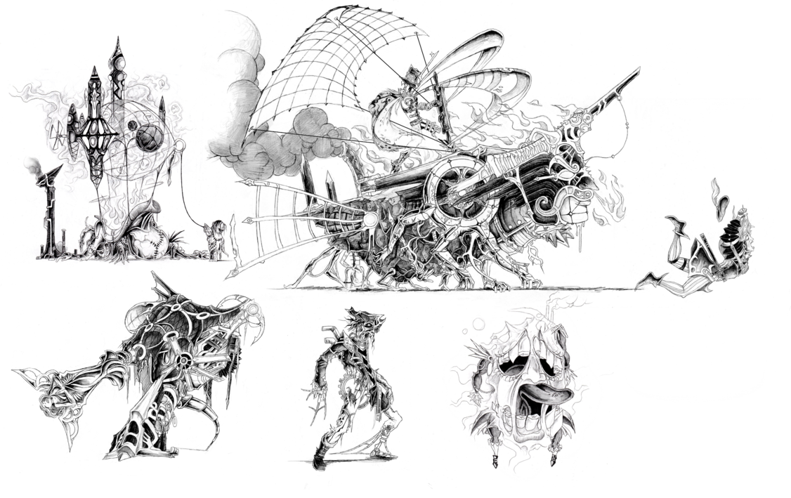 vector black and white stock Beasts of the airship. Valkyrie drawing steampunk