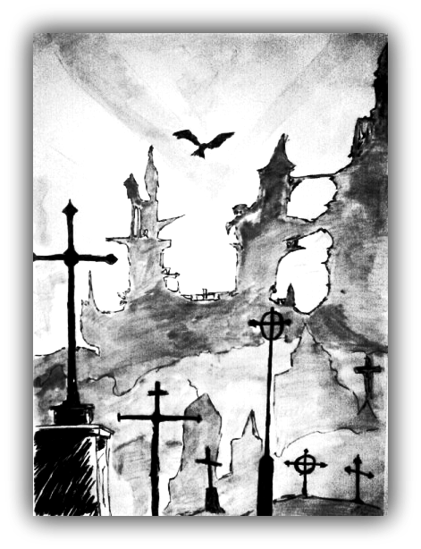 banner royalty free library Cemetery tumblr this night. Drawing charcoal castle