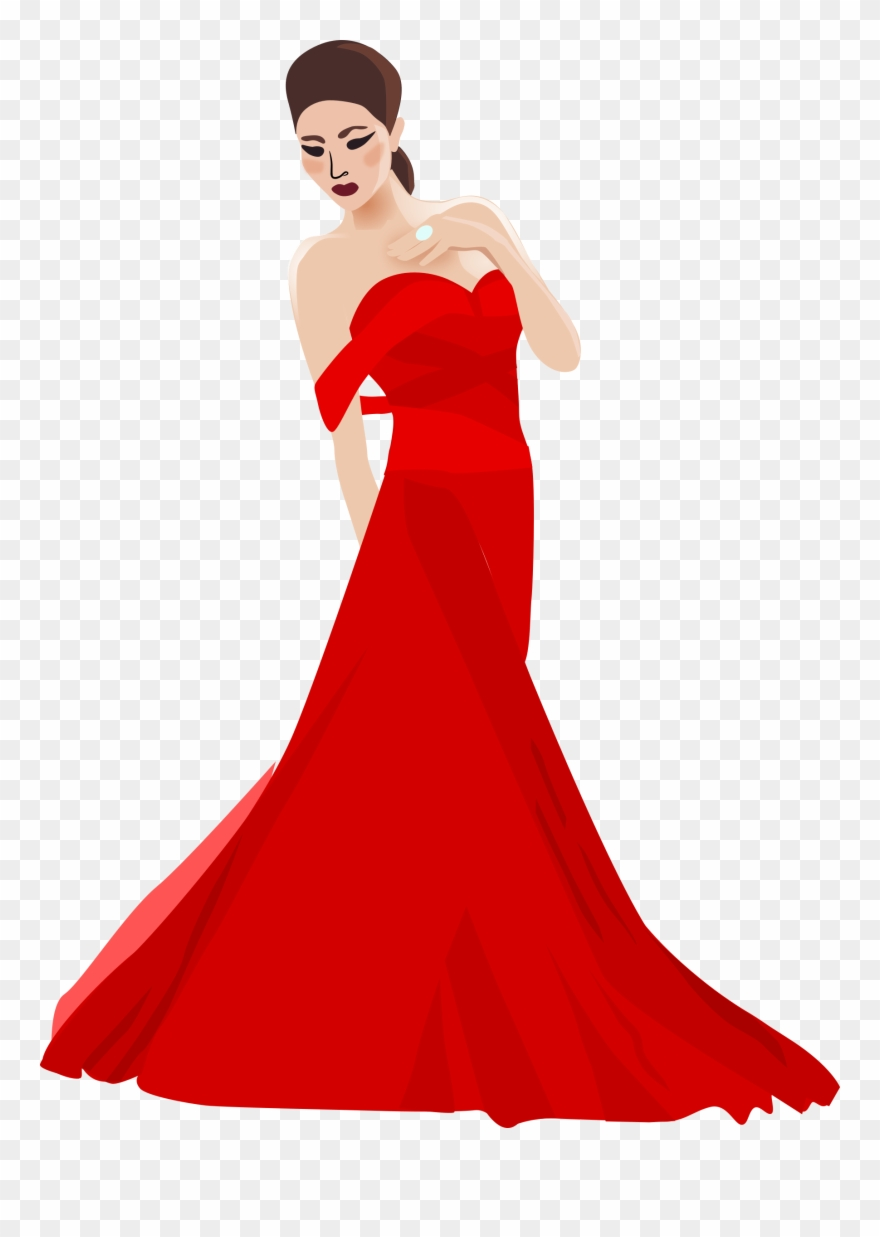 graphic transparent Gown clipart red dress. Woman in clip art