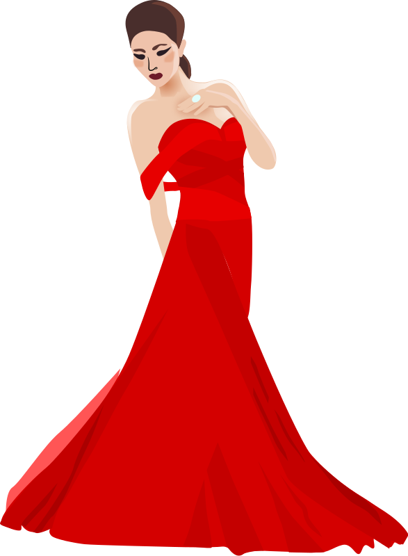 royalty free stock Chinese woman by dear. Gown clipart red dress