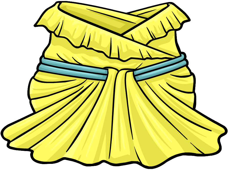 vector library download Buttercup ball club penguin. Gown clipart yellow dress